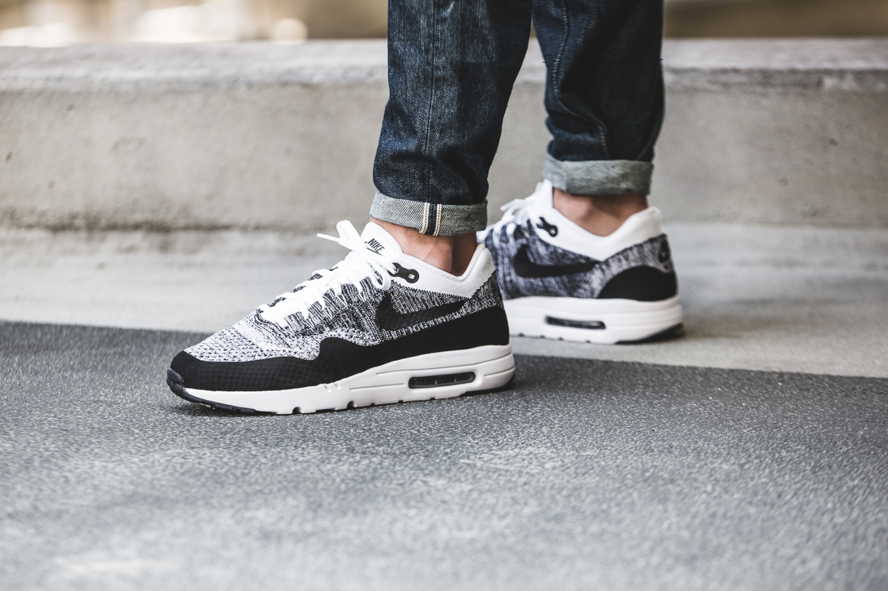 newest collection d9990 212a2 Nike Air Max 1 Ultra Flyknit Black White