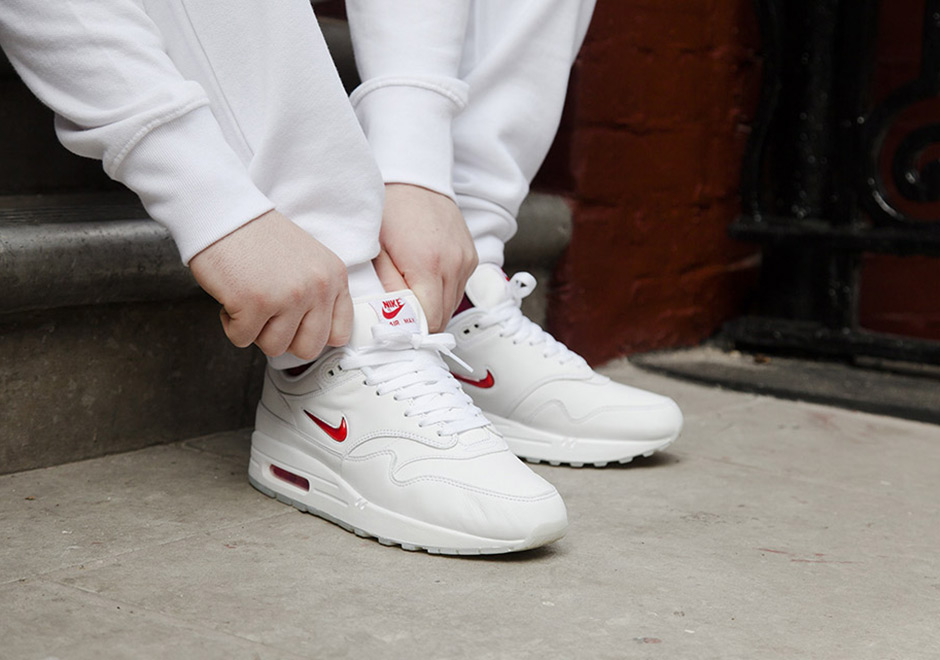 """6f51c70645f48 The Nike Air Max 1 Premium Jewel """"White Red"""" restocked Via Nike and is sold  out on other sites. Don t miss out"""